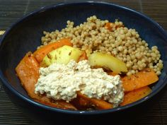 Stir-fried carrots with tofu-hummus and maftoul
