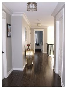 dark floors, soft grey wall color, and white molding. This is exactly how my house is but will be changing my dark floors out. Looks beautiful but the dark floors are not conducive with kids and dogs. Style At Home, Grey Wall Color, Grey Paint Colors, Dark Colors, Neutral Colors, Home Fashion, My Dream Home, Home Interior Design, Exterior Design