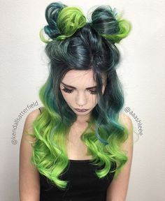 Extraordinary space bun style and electric green hair color by @aaashleee and @kendallsatterfield #hotforbeauty . . . . #spacebuns #ombrehair #greenhair #neongreenhair