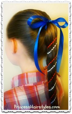 Of July Hairstyles, Aztec Carousel Braid Ponytail and Bun (Princess Hairstyles Twist Ponytail, Braided Ponytail, Twist Braids, Holiday Hairstyles, Teen Hairstyles, Braided Hairstyles, Cheerleading, Braid Styles, Short Hair Styles