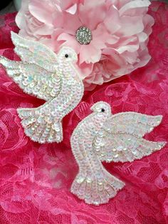 0495 White Dove Mirror Pair Beaded Sequin Appliques   Sewing Crafts Motifs  0495-whab. $8.99, via Etsy.