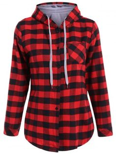Long Sleeve Hooded Plaid Shirt - RED XL Mobile