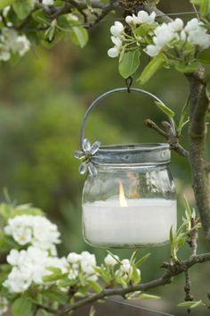 Windlicht Beleuchtung Garten  Apfelbaum schmücken