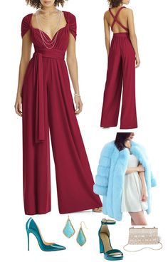 A plus size cranberry backless jumper with cape sleeves, aqua colored faux fur coat, turquoise pumps, turquoise earrings, teal sandals, and champion colored beaded clutch.