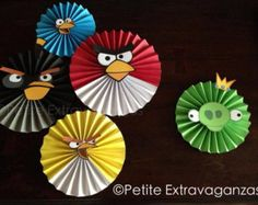 Set of 5 Angry Birds - Large Paper Rosettes/ Fans