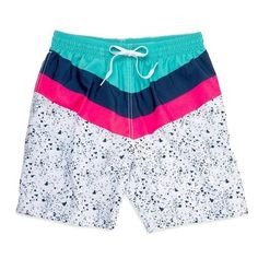 Neon Colors Tribal Aztec Abstract Mens Swim Trunks Quick Dry Board Shorts Beach Swimwear Bathing Suits with Mesh Lining