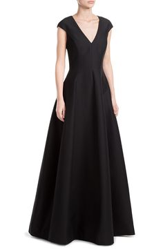 Floor Length Evening Gown with Silk look detail