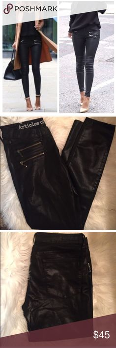 Black Skinnies! Fabulous Skinny Jeans! Can be dressed up or down. Feature 3 front zippers as shown in profile pic. Great for all seasons. 62% cotton, 36% polyester and 2% spandex. Inseam is 30.5.'. Articles of Society Pants Skinny