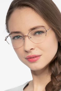 Rose Gold horn eyeglasses available in variety of colors to match any outfit. These stylish semi-rimless, large sized metal eyeglasses include free single-vision prescription lenses, a case and a cleaning cloth. Womens Glasses Frames, Eyeglasses Frames For Women, Fashion Eye Glasses, Cat Eye Glasses, Cheap Eyeglasses, Glasses For Round Faces, Lunette Style, Rimless Glasses, Cute Glasses