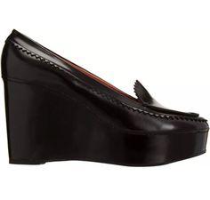 Carven Black Ursule Leather Platform Wedge Loafers Heels Shoes EU 38.5 US 8 #Carven #PlatformsWedges
