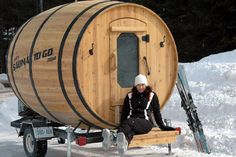 The barrel sauna is a enlarged wine barrel made into a sauna. They are popular because of the rounded edges that let the moisture roll off the walls.