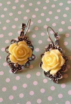 90b4174506 littlebutton antique silver setting with lemon rose earrings Rose Earrings