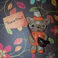 Whimsical Folk Art Boutique Halloween by DollThreadsandClay, $22.00
