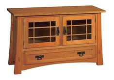 Amish Montana Mission TV Stand with Drawer and Two Doors There's room for CDs, DVDs, and your TV. Mission style furniture handcrafted in solid wood, this piece will be part of your family movie time for many years to come. #TVstand #livingroomfurniture