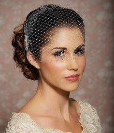 Wedding Veil with Rhinestone edge Bandeau by GildedShadows on Etsy, $57.95
