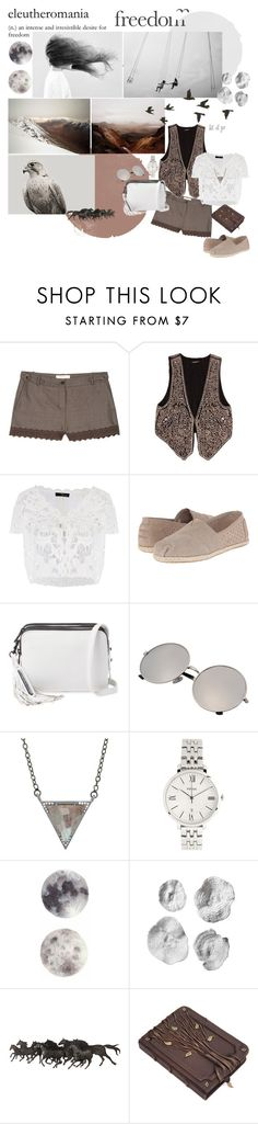 let it go ... by mariettamyan on Polyvore featuring мода, Balmain, Vanessa Bruno, TOMS, Loeffler Randall, FOSSIL and ADORNIA