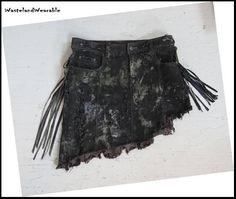 Post APOCALYPTIC SKiRT Black LEATHER FRINGES Wasteland Skirt