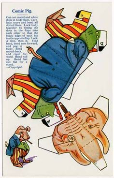 Cut Out Paper Doll Toy Postcard of A Comic Pig