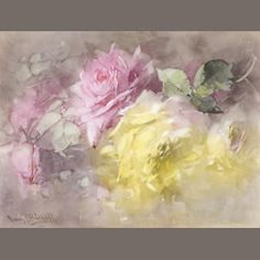 Franz A. Bischoff (American, 1864-1929) Pink and Yellow Roses  premium