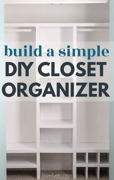 You can add so much organization to a small closet with this budget DIY closet organizer. Made with inexpensive wood using basic tools, this is an easy way to get a closet organizer that perfectly fits your closet for cheap. Get everything you need to know to get started at the link. Building Shelves In Closet, Diy Closet Shelves, Closet Built Ins, Small Closet Organization, Diy Organization, Organizing, Diy Master Closet, Closet Redo, Build A Closet