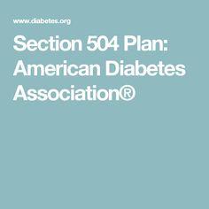Section 504 Plan: American Diabetes Association®