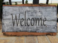 Welcome hand painted wood sign