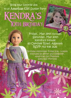 AMERICAN GIRL doll Photo Birthday Party invite. Cute!