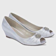 Pink by Paradox London Wedding Shoes.  Coffee, dyeable white satin, open toe, on a low wedge heel finished with a rhinestone ornament.