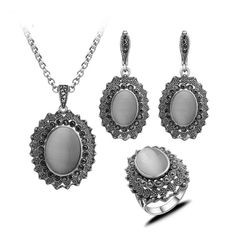 K&N Women Antique Opal Silver Ring Necklace Earring Set Vintage Fashion Jewelry #KN
