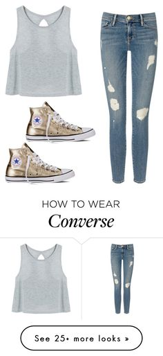 """""""Attracted"""" by jenna19monzela on Polyvore featuring Frame Denim and Converse"""