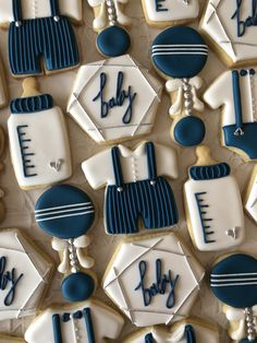 Note: Have gluten free option. Gateau Baby Shower, Deco Baby Shower, Baby Shower Cakes For Boys, Shower Bebe, Boy Baby Shower Themes, Baby Shower Parties, Baby Boy Shower, Baby Shower Decorations, Baby Boy Cookies