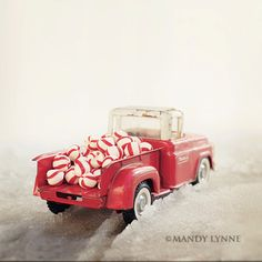 Vintage truck loaded with peppermints    Festive, cute and ready for Christmas!