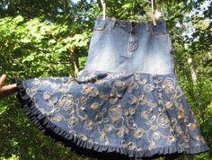 Blue denim Upcycled modest girls skirt by GingerlySpice on Etsy, $47.00