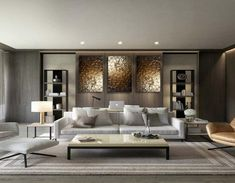 Contemporary living room design - Original Modern Heavy Texture Carved Sculpture Floral Gold Modern Metallic Oil Painting, Home decor artwork – Contemporary living room design Le Living, Cozy Living Rooms, Small Living, Modern Living, Luxury Homes Interior, Luxury Home Decor, Modern House Design, Modern Interior Design, Grand Art Mural