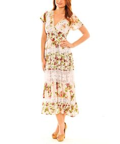 Love this Ivory & Dark Pink Floral Lace-Panel Peasant Dress by Sol Clothing on #zulily! #zulilyfinds. Just bought this dress! Hope it fits right