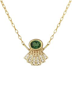 Celine Daoust Jewelry - Aztek Sun Sapphire Diamond Necklace    Handcrafted in 14-karat yellow gold.  Detailed in sapphire and diamond.  Pendant measures 7/16-in. long.  Necklace adjusts from 15-in. to 16-in. with spring ring clasp.