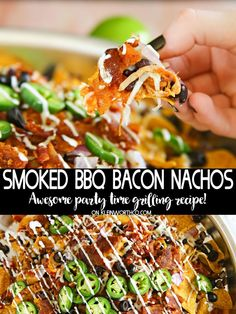 Smoked BBQ Bacon Nachos made on the grille are the perfect summer meal. Loaded with cheese, beans, smoky bacon & so much more- these are the best nachos for any celebration! AD #bbq #nachos #fathersday #dinnerrecipes #smokednachos #cheese #bacon