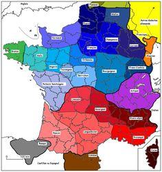 France-dialectes-carte-des-dialectes-français-Flamand-Wallon-Picard-Normand-Francien-Lorrain-Alsacien-Breton-Angevin-Tourangeau-Orléanais-Bourguignon-Francomptois Poitevin Saintongeais, Limousin, Auvergnat, Vivaro Alpin, Gascon, Languedocien, Provencal, Basque, Catalan, Corse
