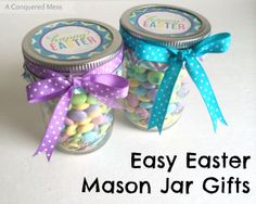 DIY Easy Easter Mason Jar Gifts | Super cute, simple gifts | #diy #easter #gifts #teachers