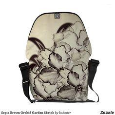 Sepia Brown Orchid Garden Sketch Messenger Bag #zazzle #fashion