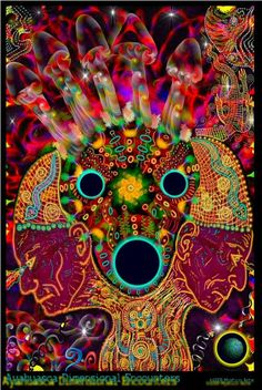 Pschedelic images linked to the use of hallucogenic drugs - Ayahuasca Dimensional Encounters by Myztico Campo
