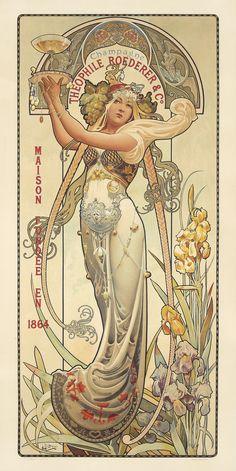 File:Louis-Théophile Hingre - Théophile Roederer & Co - Wikimedia Commons Motifs Art Nouveau, Art Nouveau Mucha, Alphonse Mucha Art, Bijoux Art Nouveau, Art Nouveau Poster, Art Deco Posters, Art Nouveau Design, Kunst Inspo, Art Inspo
