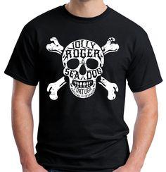 Velocitee Mens T Shirt Jolly Roger Skull & Crossbones Pirate Tortuga V173 #Velocitee