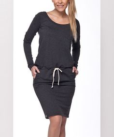 Another great find on #zulily! Graphite Gray Drawstring Blouson Dress #zulilyfinds
