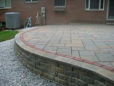gray pavers with red borders | Stone, brick, and paver patios and porches in Maryland