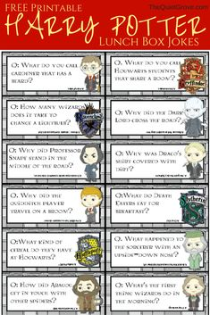 Harry Potter Printable Lunchbox Jokes and Notes for Kids! The post Harry Potter Printable Lunchbox Jokes and Notes for Kids! appeared first on Gag Dad. Deco Noel Harry Potter, Harry Potter Classroom, Theme Harry Potter, Harry Potter Christmas, Harry Potter Jokes, Harry Potter Birthday, Classroom Jokes, Christmas Jokes, Classroom Ideas