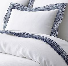 RH's Milou Embroidered Linen Bedding Collection:FREE SHIPPINGIntricate embroidery on breezy washed linen gives this collection handcrafted appeal. Inspired by antique needlepoint samplers, the wide border showcases a simple running stitch paired with more elaborate cross-stitch, diamond and lattice patterns.