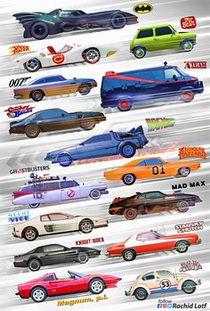 of the most iconic movies/series cars Movies Ps Wallpaper, Iconic Movies, 80s Movies, Action Movies, Car Posters, Car Drawings, Batmobile, Amazing Cars, Hot Cars