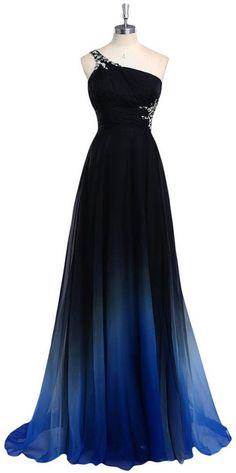 Dreamy A-line One Shoulder Sweep Train Chiffon Prom/Evening Dress With Beads ==