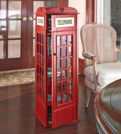 Phone Booth CD Cabinet, DVD Storage Tower, Red Phone Booth Storage Case | Solutions @Lya Doucette